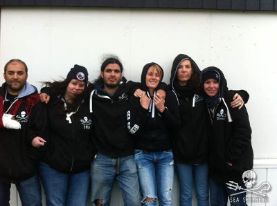 The six Sea Shepherd volunteers who were arrested defending the pilot whales