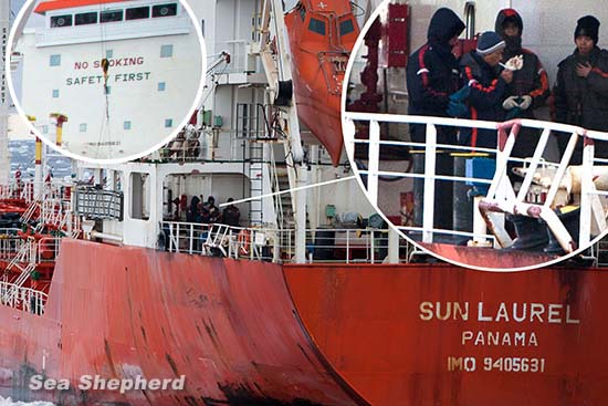 Crewmembers of the Sun Laurel smoking onboard the fuel tanker