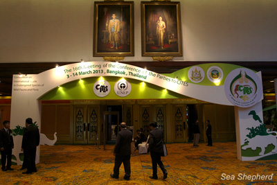 Entrance to CITES CoP16 in Bangkok, Thailand