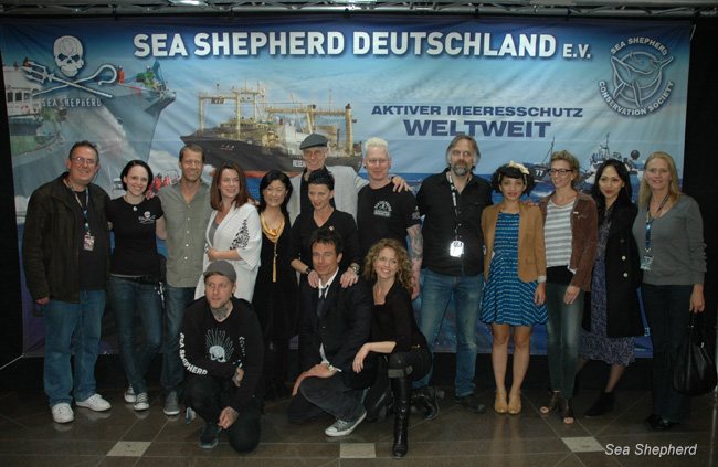 Various actors and artists at Sea Shepherd Germany Stall