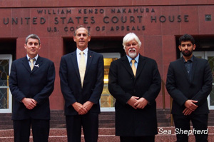 :   Managing  Director Jeff Hansen, Sea Shepherd Australia Chairman Dr. Bob Brown, Sea  Shepherd Conservation Society Founder Captain Paul Watson and Steve Irwin  Captain Siddharth Chakravarty after the close of trial on the steps of the U.S  Court of Appeals in Seattle, USA