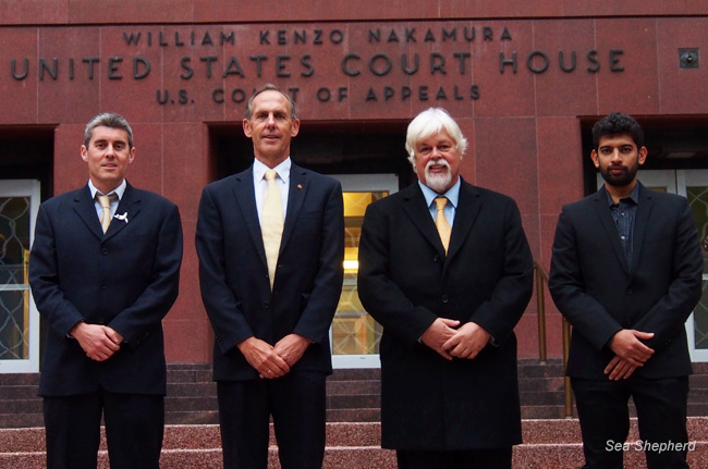 Jeff Hansen, Sea Shepherd Australia Chairman Dr. Bob Brown, Sea  Shepherd Conservation Society Founder Captain Paul Watson and Steve Irwin  Captain Siddharth Chakravarty after the close of trial on the steps of the U.S  Court of Appeals in Seattle, USA