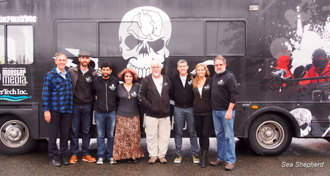 Bob Brown, Captain Siddharth Chakravarty, Paul  Watson and Jeff Hansen with Sea Shepherd USA prior to being taken to airport  back to Australia with Sea Shepherd RV
