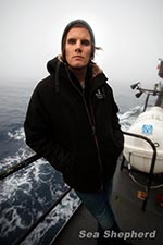 Tim Watters, Photographer aboard The Steve Irwin photo: Eliza Muirhead