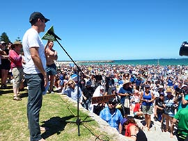 Jeff Hansen addresses the crowds at the Anti shark Cull Rally Photo: Omar Todd
