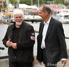 Bob Brown with Sea Shepherd founder Paul Watson in Hobart prior to the commencement of  2010/11 Antarctic campaign