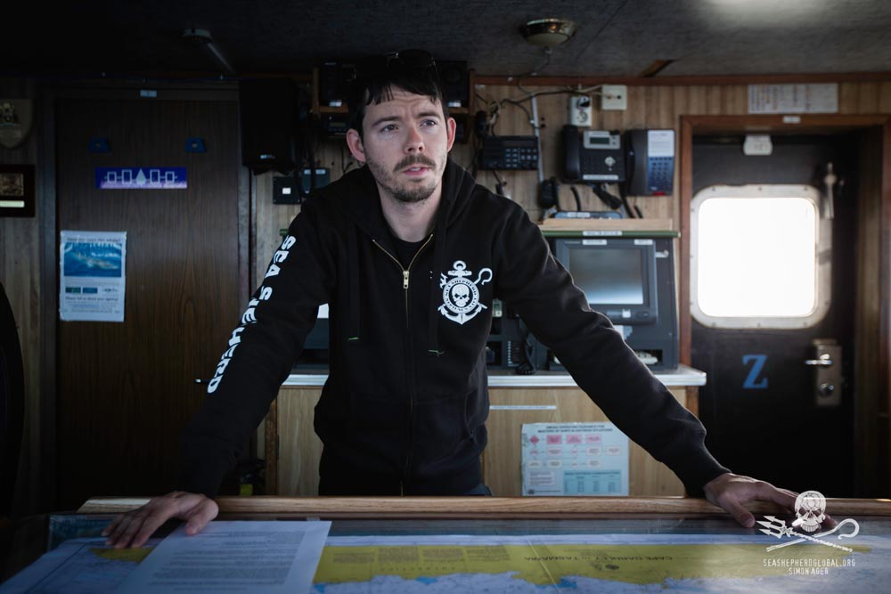 Captain Peter Hammarstedt on the bridge of the M/Y Bob Barker. Credit: Sea Shepherd Global / Simon Ager