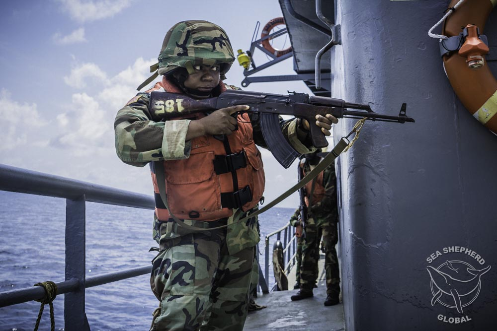 Training exercises with the Liberian Coast Guard. Photo: Sea Shepherd Global / Alejandra Gimeno
