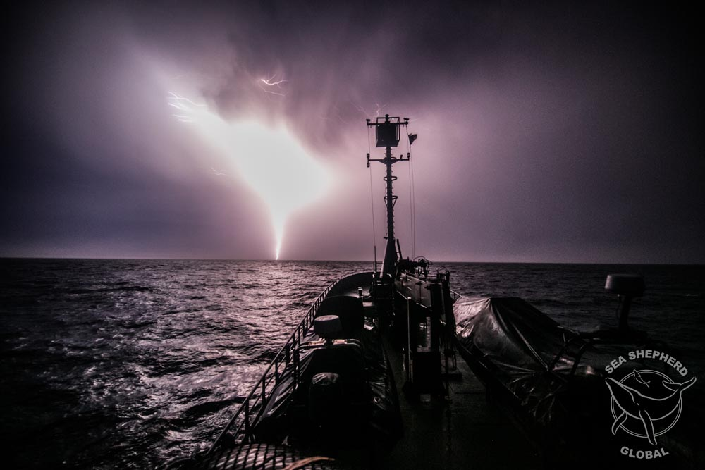 Lightning strikes ahead of the M/Y Bob Barker