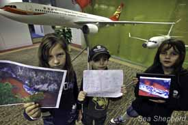 Young Sea Shepherd Supporters disapprove of Hong Kong Airlines transporting live Dolphins