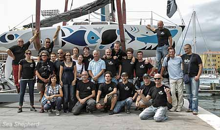 Capt. Hammarstedt, onshore crew, volunteers and supporters with the new vessel, Sea Shepherd Italia.