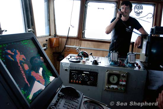 Captain Peter Hammarstedt on bridge of SSS Bob Barker