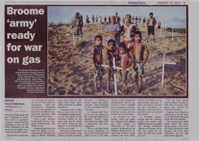 "The Sunday Times article ""Broom 'army' ready for war on gas"", January 20, 2013"