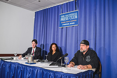 (l. to r.) Attorney Charles Moure at Monday's press announcement in Washington, D.C. of Sea Shepherd's U.S. Supreme Court application filing, with Sea Shepherd's Susan Hartland and Scott West