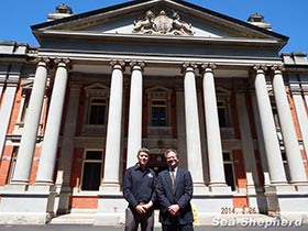 Jeff Hansen with Principal Solicitor, Patrick Pearlman, outside of the Supreme Court in Western Australia  photo: Omar Todd