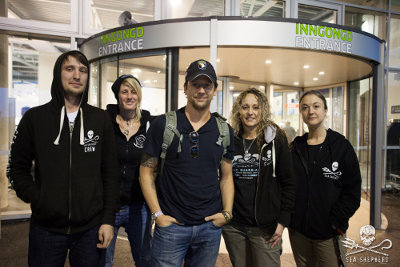 Ross McCall is greeted at the airport by Operation GrindStop crew