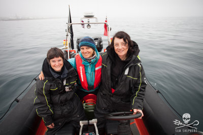 Sea Shepherd crew of the Spitfire: Celine Le Diouron and Marion Selighini, both from France, and Jessie Treverton of the UK