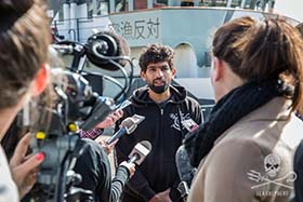 Captain Sid Chakravarty speaks to media on Operation Icefish. Photo: Jeff Wirth