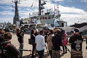 Sea Shepherd press conference, Wellington, New Zealand. Photo: Jeff Wirth