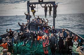 The Sam Simon crew, triumphant after completing the operation. Photo: Jeff Wirth
