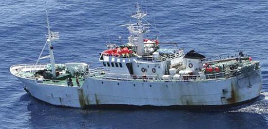 On the run – known poaching vessel Kunlun, formerly the Chang Bai (Courtesy of CCAMLR)