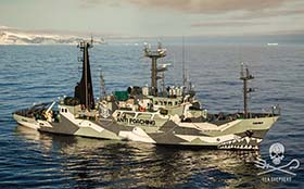 The Sam Simon sets its sights on new targets - 3 illegal fishing vessels that fended off the New Zealand Navy. Photo: Mariana Baldo