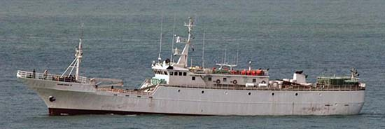 On the run – known poaching vessel Yongding, formerly  the Chengdu (Courtesy of CCAMLR)