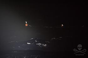 A beacon marks the set of buoys, illegally deployed under cover of darkness by the Thunder. Photo: Simon Ager