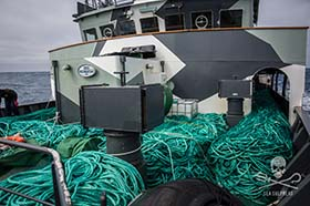 Just some of the 72 km of the Thunder's illegal gillnet that was confiscated by the Sam Simon. Photo: Jeff Wirth