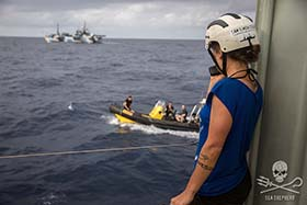 Crew of the Sea Shepherd ships coordinate the resupply operation through constant radio contact. Photo: Jeff Wirth
