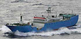 "The Viking is the 2nd of the ""Bandit 6"" poaching vessels to be detained this month. (Image courtesy CCAMLR)"