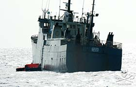The poaching vessel, Thunder has issued a distress call that it is sinking. Photo: Erwin Vermeulen