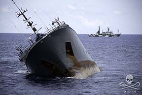 The Sea Shepherd ships remain at a safe distance from the sinking poaching vessel. Photo: Simon Ager