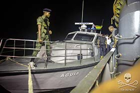 Sea Shepherd hands over rescued crew of the Thunder Sao Tome coast guards. Photo: Jeff Wirth