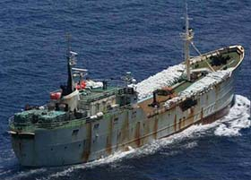 The Perlon was detained with illegally-caught toothfish on board, said to be worth US $6.4 million (courtesy CCAMLR)