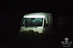 The getaway van that was abandoned by the poachers. Photo: Enrico Salierno