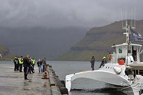 Faroese police officers were on-ground to meet the Sea Shepherd ship on its arrival in Tórshavn