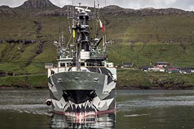 The Sam Simon arrives in the Faroe Islands. Photo: Iraultza Izquierdo