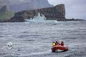 In the Faroe Islands, the grindadráp continues with the assistance of the Danish Police Force and Navy. Photo: Matthias Doller