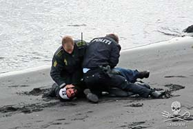 Sea Shepherd volunteer, Christophe Bondue, arrested at Bøur. Photo: Sea Shepherd