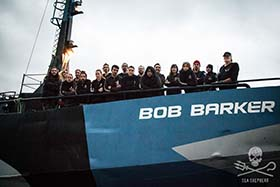 The international crew of the Bob Barker, including 11 EU nationals, denied entry to the Faroe Islands by Denmark. Photo: Sea Shepherd