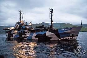 The Bob Barker prepares to depart Sund after its crew is denied entry to the Faroe Islands by Denmark. Photo: Sea Shepherd