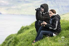Anne Menden, on watch in the Faroe Islands. Photo: Sea Shepherd