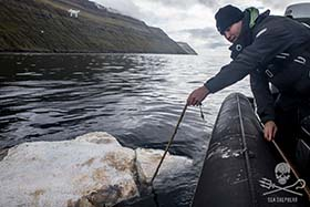 Sea Shepherd crewmember holds the rope that was found, tied around the whales neck and tail. Photo: Iraultza Darias