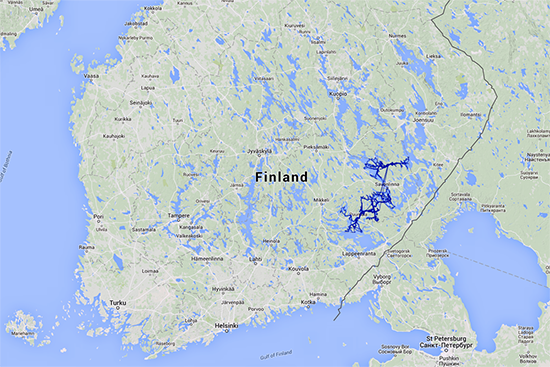 This map shows the total covered area during Op. Saimaa Seal – an incredible 4 521 kilometers.