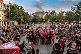 Hundreds line the streets of Paris, France, to stand-up against the grindadráp