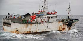 Toothfish poaching vessel, Kunlun (Taishan), escaped from authorities in Thailand in September. Photo: Giacomo Giorgi