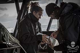Bob Barker crewmembers Bianca Figueiredo and Michael Beasley on the hunt for micro-plastics. Photo: Renaud Chassaigne