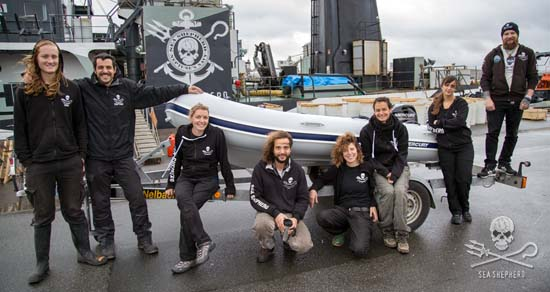 The crew of the Brigitte Bardot with the vessel's new tender, purchased thanks to the generosity of Sea Shepherd supporters around the world. Photo: Giacomo Giorgi