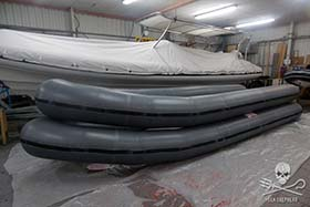 Pontoons of the new small boats under pressure testing. (courtesy of Humber)